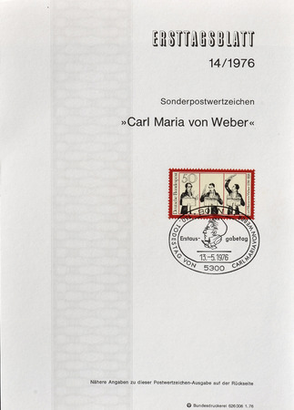 weber: Cancelled First Day Sheet printed by Germany, that shows Carl Maria von Weber, circa 1976.