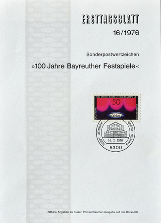 centenary: Cancelled First Day Sheet printed by Germany, that shows Centenary of Bayreuth festival, circa 1976.