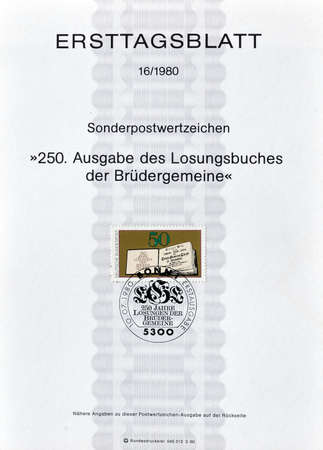 philately: Cancelled First Day Sheet printed by Germany, that shows The Daily Watchwords, circa 1980.