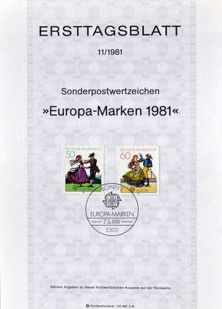 folklore: Cancelled First Day Sheet printed by Germany, that shows Folklore, circa 1981.