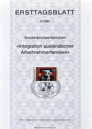 foreigners: Cancelled First Day Sheet printed by Germany, that shows German family visiting foreigners family, circa 1981.
