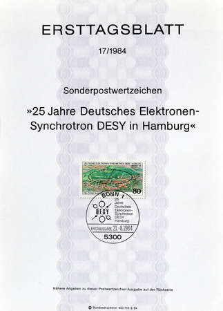 first day: Cancelled First Day Sheet printed by Germany, that shows Electron Synchotron, circa 1984.