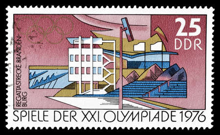 democratic: Cancelled postage stamp printed by German Democratic Republic, that shows  gymnasium, circa 1976. Editorial