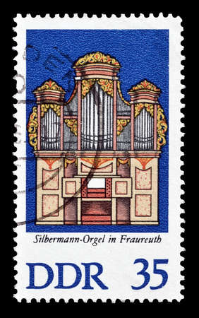 democratic: Cancelled postage stamp printed by German Democratic Republic, that shows Organs, circa 1976.
