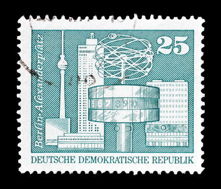 philately: Cancelled postage stamp printed by German Democratic Republic, that shows  Alexanderplatz  in Berlin, circa 1973.