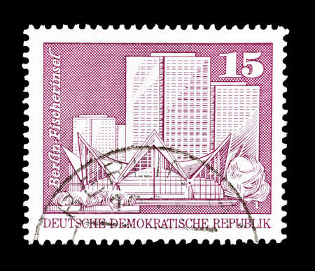 fisher: Cancelled postage stamp printed by German Democratic Republic, that shows Fisher Island in Berlin, circa 1973. Editorial