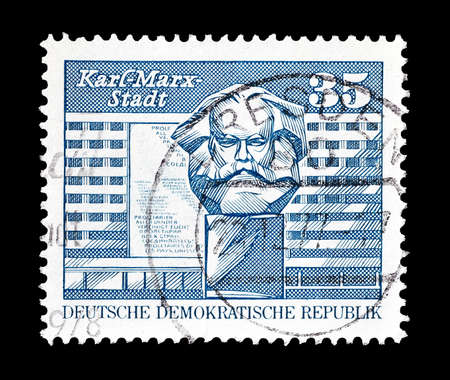 marx: Cancelled postage stamp printed by German Democratic Republic, that shows Karl Marx Monument, circa 1973.