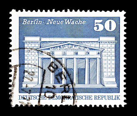 philately: Cancelled postage stamp printed by German Democratic Republic, that shows Berlin, circa 1974.