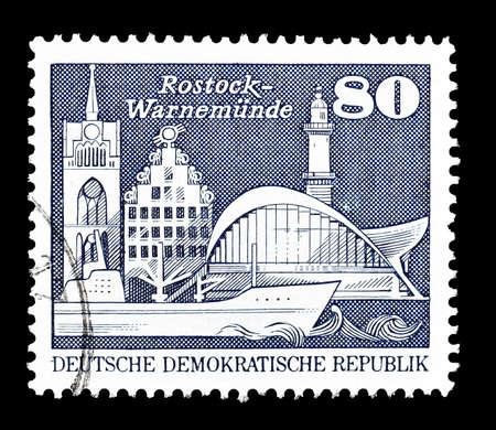 rostock: Cancelled postage stamp printed by German Democratic Republic, that shows Rostock, circa 1974.