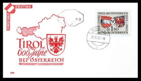 first day: Cancelled First Day Cover letter printed by Austria, that shows Tirol, circa 1963.