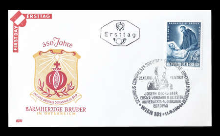 first day: Cancelled First Day Cover letter printed by Austria, that shows Brothers of mercy, circa 1964.