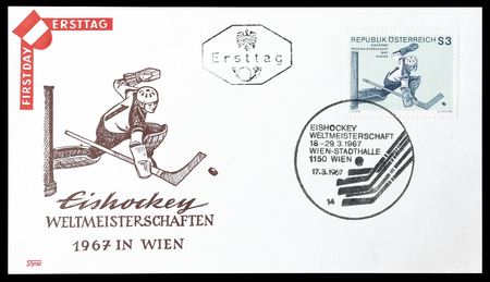 first day: Cancelled First Day Cover letter printed by Austria, that shows hockey player, circa 1967. Editorial
