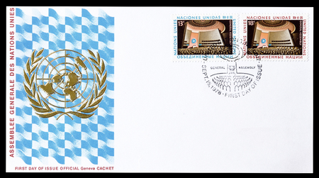 first nations: Cancelled First Day Cover letter printed by United Nations, that shows Big hall, circa 1978.