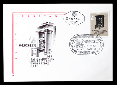 first day: Cancelled First Day Cover letter printed by Austria, that shows Antique printing press, circa 1964. Editorial