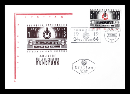 first day: Cancelled First Day Cover letter printed by Austria, that shows Radio, circa 1964.