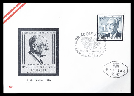 first day: Cancelled First Day Cover letter printed by Austria, that shows Adolf Scharf, circa 1965. Editorial