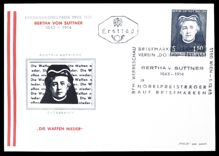 first day: Cancelled First Day Cover letter printed by Austria, that shows Bertha von Suttner, circa 1965. Editorial