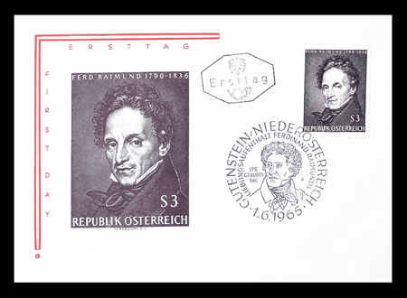 ferdinand: Cancelled First Day Cover letter printed by Austria, that shows Ferdinand Reimund, circa 1965.