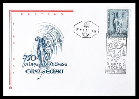 first day: Cancelled First Day Cover letter printed by Austria, that shows Bishop figure, circa 1968. Editorial