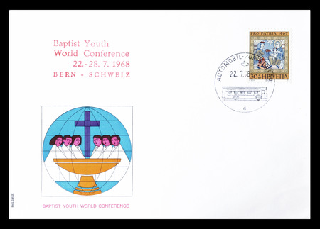 worshipping: Cancelled First Day Cover letter printed by Switzerland, that shows Worshipping of the kings, circa 1967.