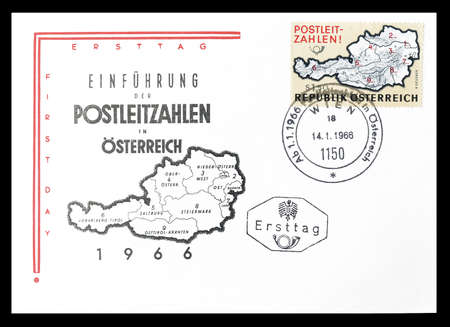 first day: Cancelled First Day Cover letter printed by Austria, that shows Postcode introduction, circa 1966.