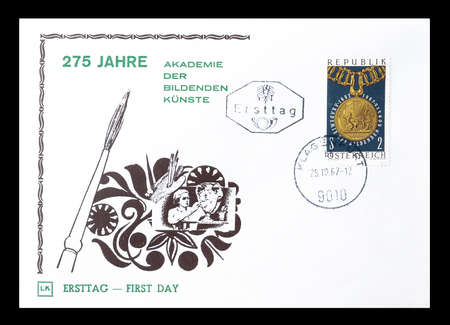 first day: Cancelled First Day Cover letter printed by Austria, that shows Principal chain with medal, circa 1967.