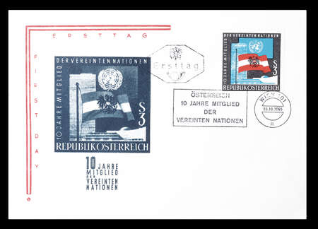 first day: Cancelled First Day Cover letter printed by Austria, that shows Flags of Austria and UNO, circa 1965.
