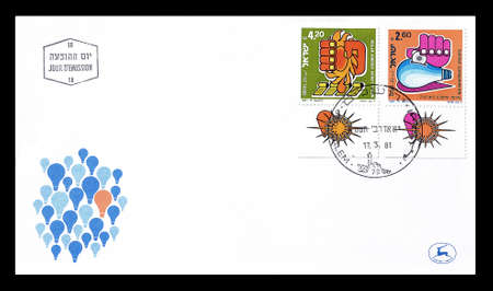 first day: Cancelled First Day Cover letter printed by Israel, that shows Hands, circa 1981. Editorial