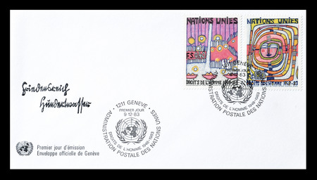 first nations: Cancelled First Day Cover letter printed by United Nations, that shows Human rights, circa 1983. Editorial