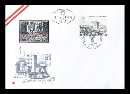 first day: Cancelled First Day Cover letter printed by Austria, that shows Vienna, circa 1964.