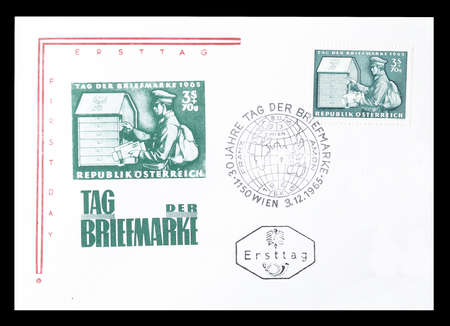 first day: Cancelled First Day Cover letter printed by Austria, that shows mailman, circa 1965.