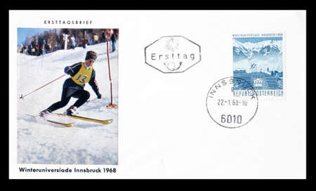 first day: Cancelled First Day Cover letter printed by Austria, that shows Innsbruck winter games, circa 1968.