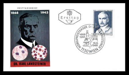 first day: Cancelled First Day Cover letter printed by Austria, that shows Karl Landsteiner, circa 1968.