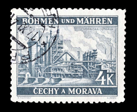 Reich: Cancelled postage stamp printed by Germany, that shows Industrial plant, circa 1939.