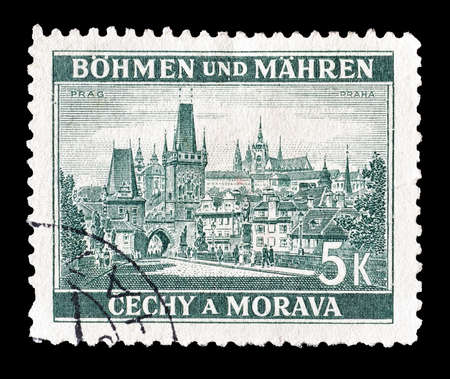 Reich: Cancelled postage stamp printed by Germany, that shows Prague, circa 1939. Editorial