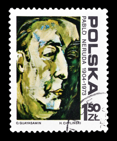 Cancelled postage stamp printed by Poland, that shows painting of Pablo Neruda, circa 1974.
