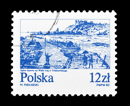philately: Cancelled postage stamp printed by Poland, that shows Vistula river, circa 1982.