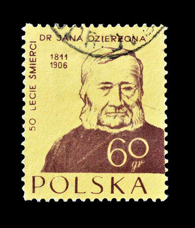 philately: Cancelled postage stamp printed by Poland, that shows Father Jan Dzierzon, circa 1956. Editorial