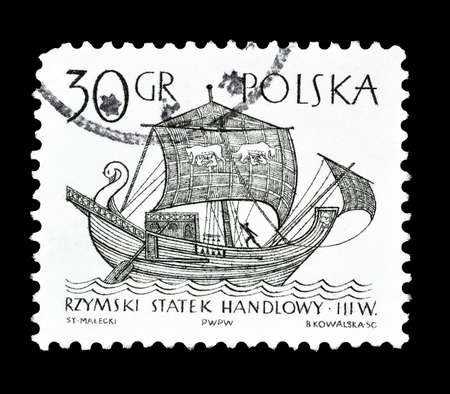 merchant: Cancelled postage stamp printed by Poland, that shows Old merchant ship, circa 1964.