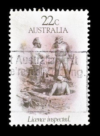 inspected: Cancelled postage stamp printed by Australia, that shows Licence inspected, circa 1981.