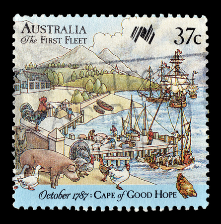 australia stamp: Cancelled postage stamp printed by Australia, that shows Cape of good hope, circa 1987. Editorial