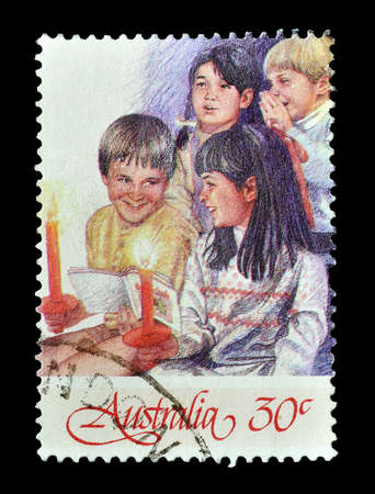 postage: Cancelled postage stamp printed by Australia, that shows Christmas motive, circa 1986.
