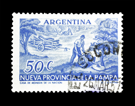 tree cutting: Cancelled postage stamp printed by Argentina, that shows Tree cutting, circa 1956.