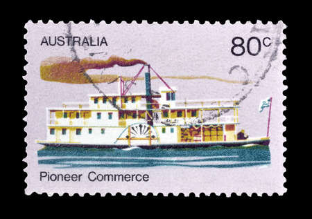 philately: Cancelled postage stamp printed by Australia, that shows Old steamer, circa 1972. Editorial