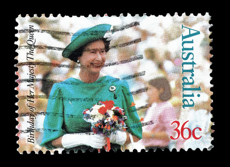 australia stamp: Cancelled postage stamp printed by Australia, that shows Queen Elizabeth II, circa 1987. Editorial