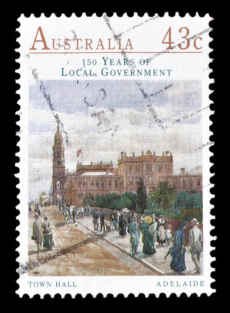 adelaide: Cancelled postage stamp printed by Australia, that shows Town hall in Adelaide, circa 1990.