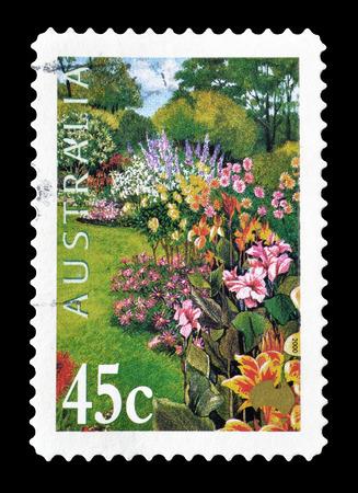 australia stamp: Cancelled postage stamp printed by Australia, that shows Garden, circa 2000.