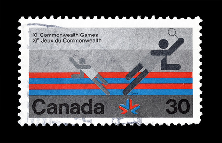 promotes: Cancelled postage stamp printed by Canada, that promotes Commonwealth games, circa 1978. Editorial
