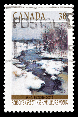 philately: Cancelled postage stamp printed by Canada, that shows Landscape, circa 1989.