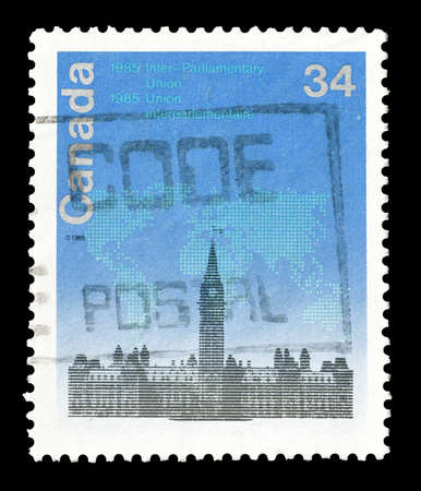 parliamentary: Cancelled postage stamp printed by Canada, that shows  Inter Parliamentary Union conference , circa 1985.